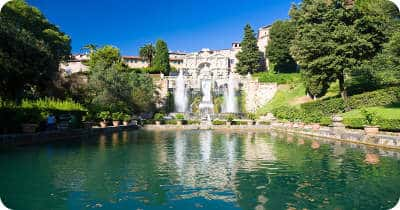 Big fountain in Tivoli Italy front view.