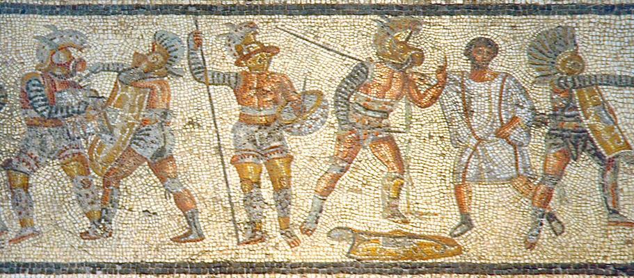gladiadores mosaico s. I leptis magna