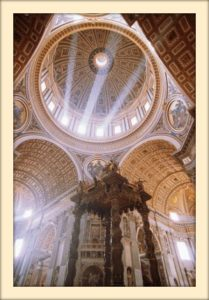 altar y cúpula de san pedro en Roma
