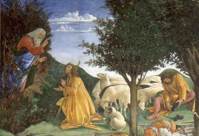 Moisés y la zarza ardiente Botticelli