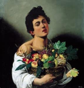 Chico con cesto de fruta de Caravaggio en la Galleria Borghese