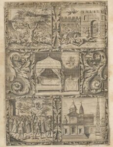 Grabado con la leyenda que da origen a Santa Maria del Popolo