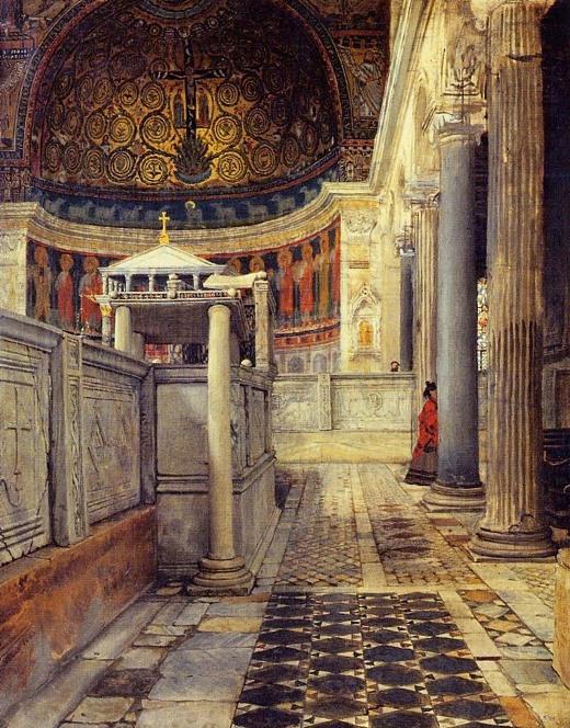 Interior Basílica San Clemente en cuadro de Alma Tadema