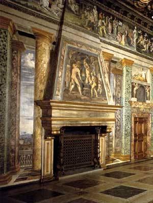Fragua de Vulcano en la Sala de las Perspectivas Renacimiento en Roma