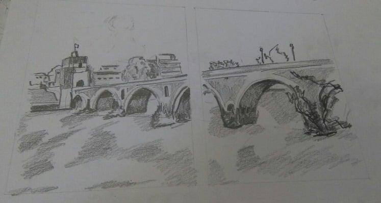 puente Milvio sobre el Tiber en Roma