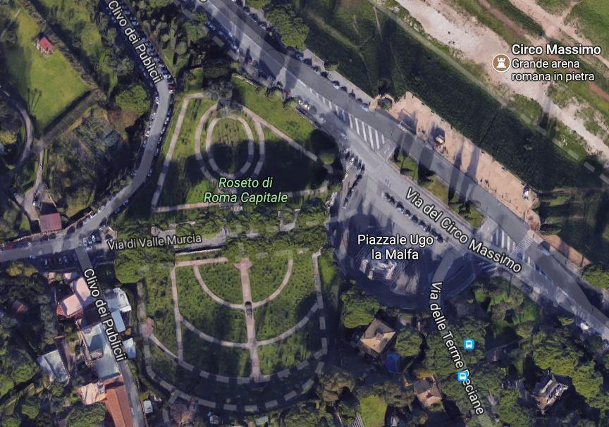 Vista de la Rosaleda de Roma desde el aire