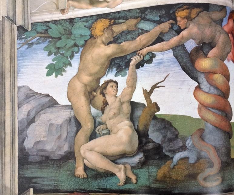 Capilla Sixtina Adán y Eva