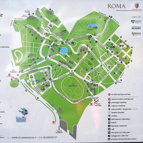 corazón verde de Roma mapa villa borghese