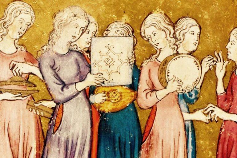 miniatura haggadah xiv siglo judíos en Roma