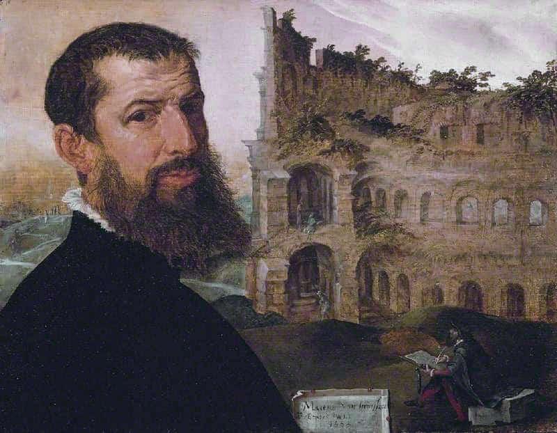 autorretrato Maerten van Heemskerck con coliseo