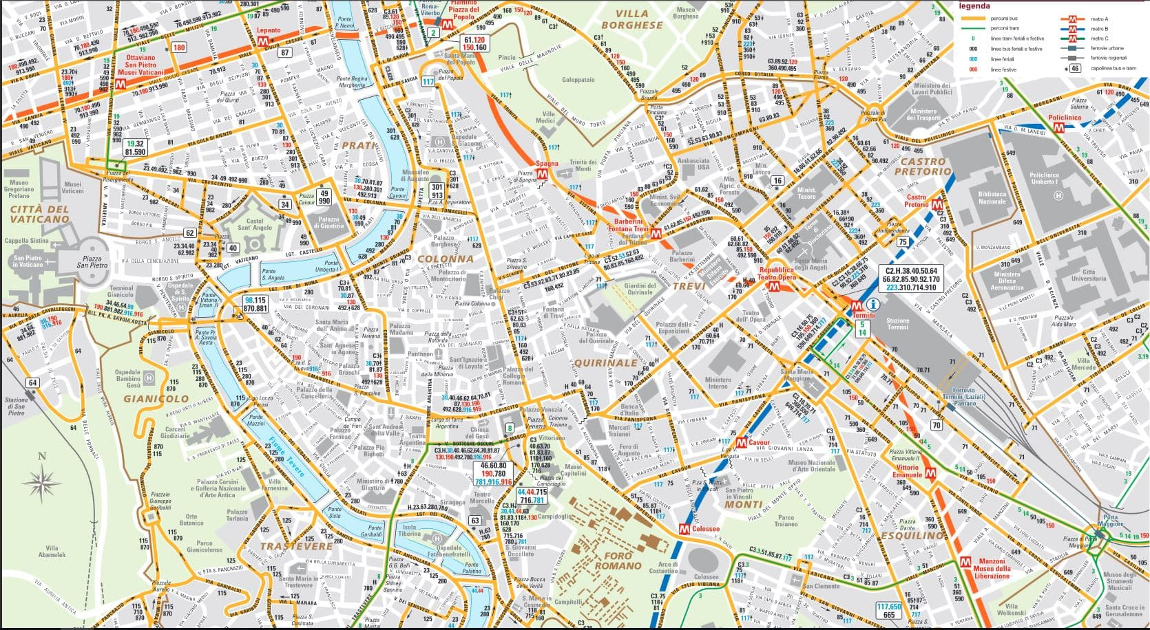 mapa autobuses roma centro