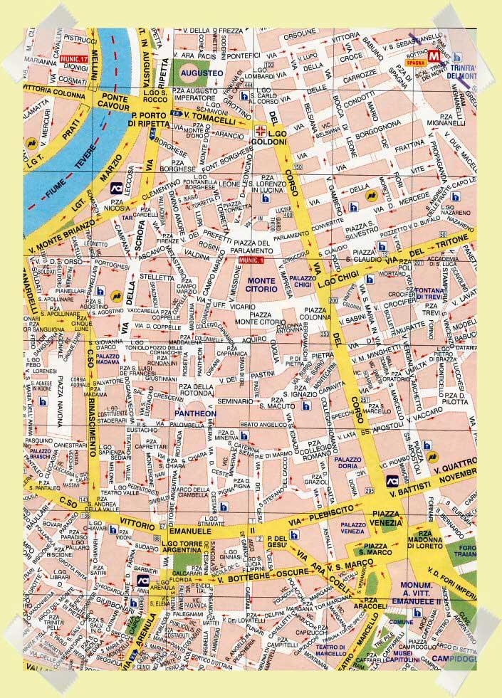 mapa pantheon centro roma