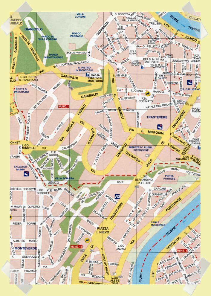 mapa trastevere janiculo