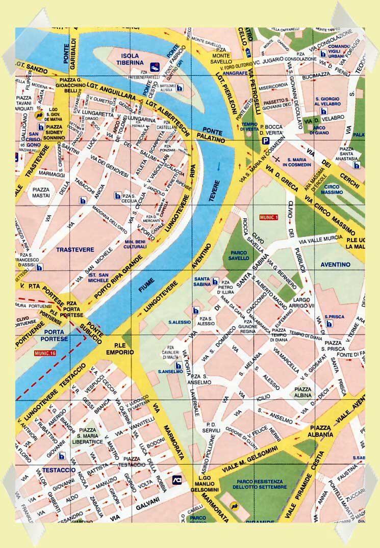 mapa trastevere isla tiberina
