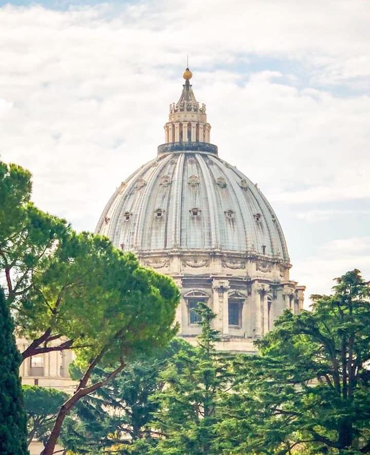 cupula san pedro desde jardines museos vaticanos