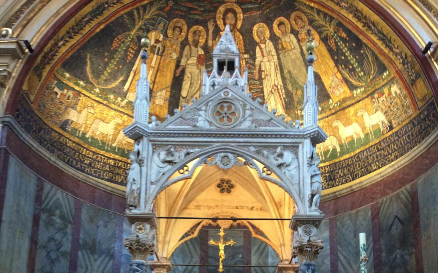 abside baldaquino santa cecilia roma