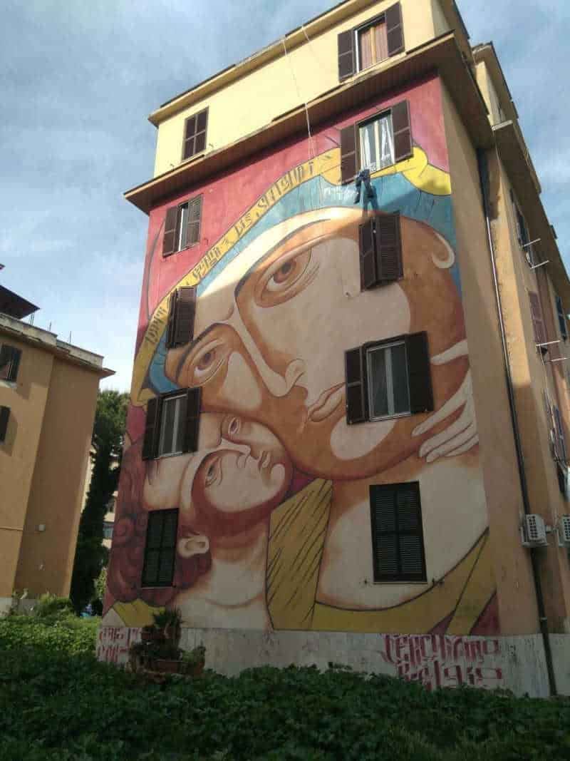 arte urbano mural religioso tor marancia