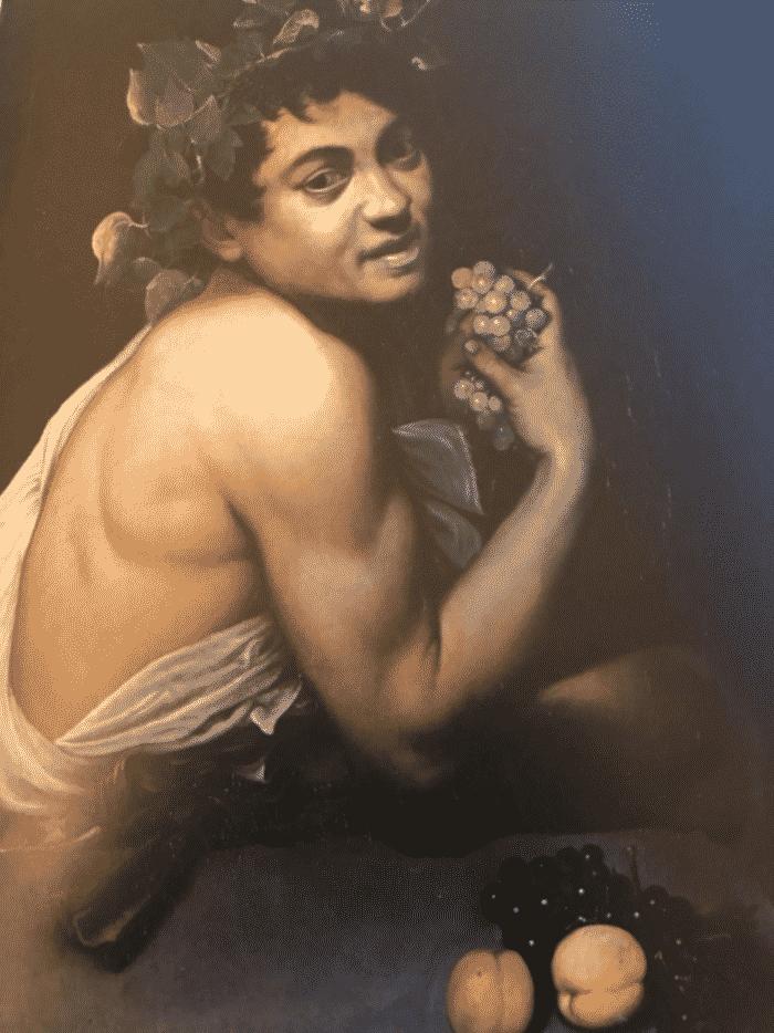 Baco enfermo de Caravaggio en la Galleria Borghese