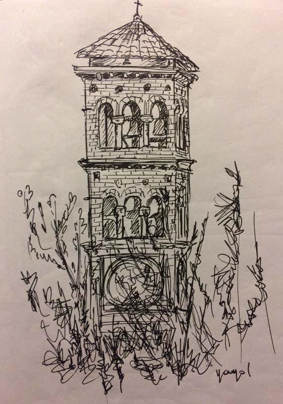 campanario iglesia en plaza buenos aires