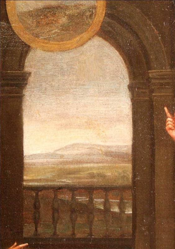 paisaje en el cuadro de jose y el faraon inspirandose en la obra de rafael en las logias del vaticano