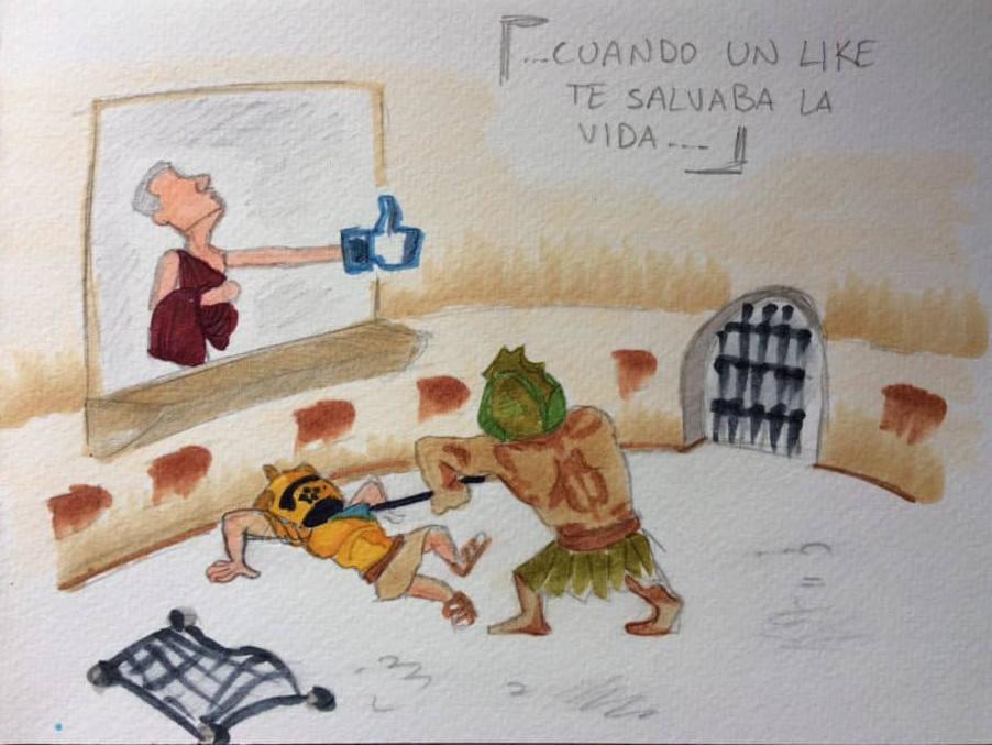 dibujo coliseo lucha gladiadores