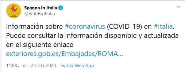 embajada noticias coronavirus roma