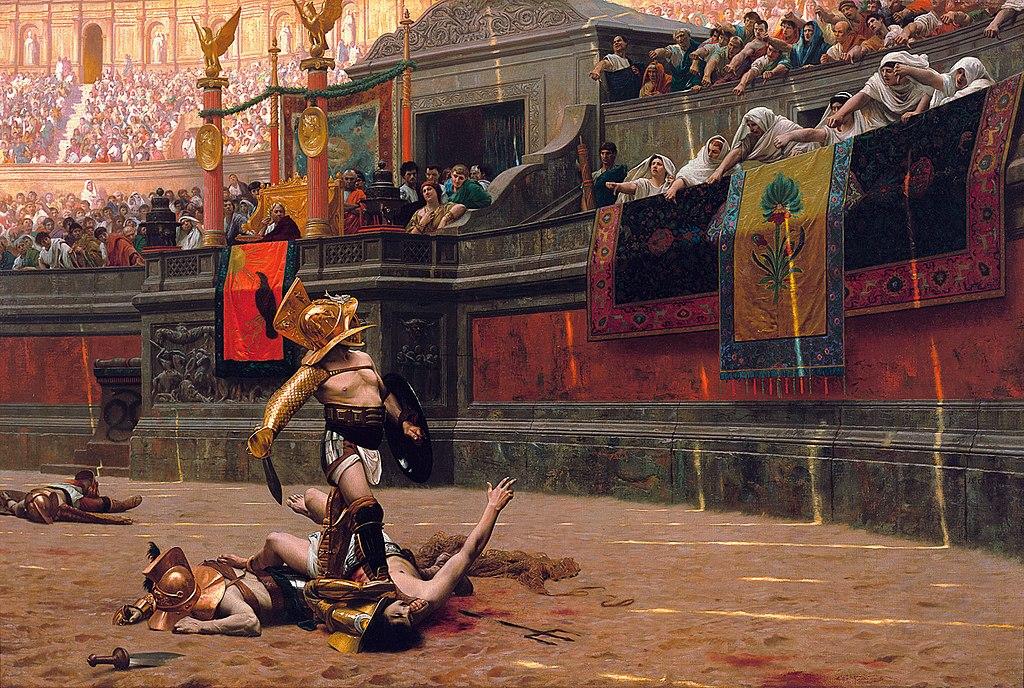 lucha de gladiadores en el coliseo