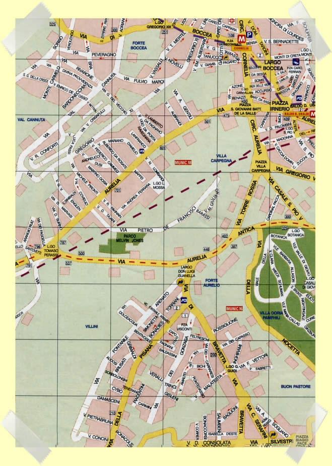 mapa zona aurelia roma