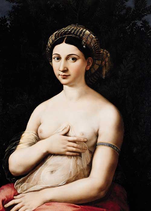 La Fornarina pintura de Rafael en el Palacio Barberini