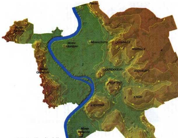 las 7 colinas de roma mapa