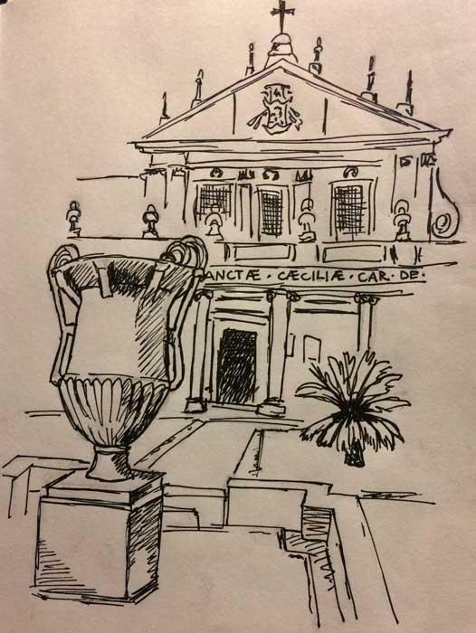 basilica santa cecilia dibujo entrada