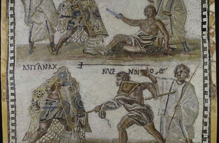 coliseo lucha gladiadores mosaico